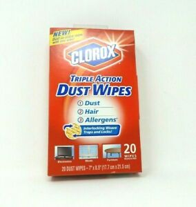 """Clorox Triple Action Dust Cloths Allergens 20 Count 7""""X8.5"""" Hard to find. Sealed"""