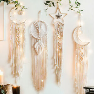Large Handmade Boho Wall Hanging Tapestry Woven Rope Moon Star Dream Catcher EID