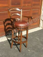 """Frontgate Wood Leather  Kitchen COUNTER 24"""" Height Stool Barstool Bar Chair"""