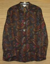 CJ Banks Plus Size 1X Button Front Long Sleeve Paisley Tapestry Jacket