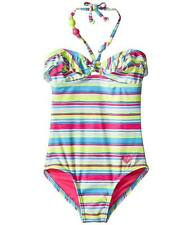Roxy Girls 2/2T 1 Pc Swimsuit Island Tiles Pink Blue Stripe Ruffle Halter