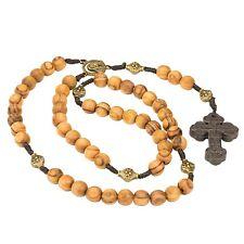 Olive Wood Catholic Rosary with Bronze Beads & Holy Land Soil Cross Virgin Mary