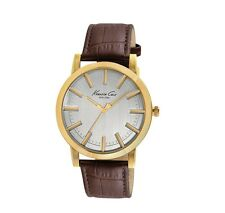 NWT KENNETH COLE NEW YORK SILVER GOLD DIAL BROWN CROC LEATHER WATCH KC8043