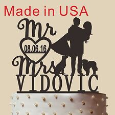 Customized Mr and Mrs Cake Topper,Acrylic,Wedding Gift with Dog, Made in USA 5''