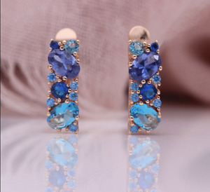 2Ct Oval Cut Tanzanite And topaz Huggie Hoop Earrings Solid 14K Rose Gold Finish