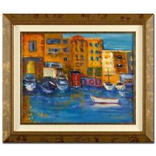 "Elliot Fallas ""Portofino Cafes""  Original Oil on Canvas"