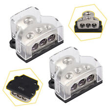 2Pcs 3 Way Power Distributor Block Car Audio Splitter 1*0 Gauge in 3*4 Gauge Out