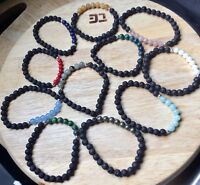 YOGA/CHAKRA BRACELETS WITH STERLING SILVER - MANY DIFFERENT STONES