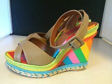 Valentino Garavani 1973 'Rockstud' wedge sandals Sz 37.5 Rainbow Shoes New 7.5