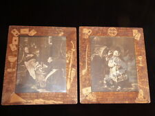 ANTIQUE RELIGIOUS MONKS DRINKING WINE PRINTS HAND CARVED WOODEN FRAMES 14 X 16
