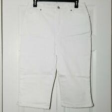 Gloria Vanderbilt Amanda Skimmer Size 10 White Embroidered Slimming Cotton NWOT