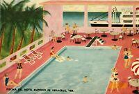 Vintage (c.1920s ) Art Deco Print Piscina del Hotel, Emporio de Veracruz, Mexico