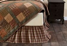 CROSSWOODS Queen Bed Skirt Dust Ruffle Tan/Blue/Green Plaid Patchwork Farmhouse