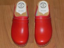 RED LEATHER UGGLEBO AUTHENTIC SWEDISH CLOGS LOW and MEDIUM B  -  Size 36 (5 US)