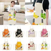 Waterproof Nail Polish Pattern Cotton Linen Cooking Baking Kitchen Pinny Apron