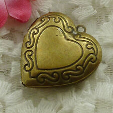 Free Ship 6 pieces bronze plated heart pendant 48x27mm #1647