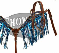 WESTERN PONY BLING LEATHER HORSE BRIDLE BLUE METALLIC FRINGE BREAST COLLAR PLATE