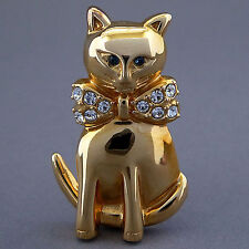 SMALL VINTAGE KREMENTZ RHINESTONE CAT WITH BOW TIE GOLD PLATED BROOCH PIN