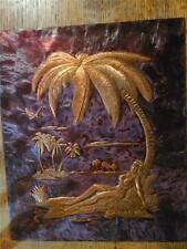 Vtg Raised Embossed Copper Art Plaque Island Tropical Hula Woman Under Palm Tree