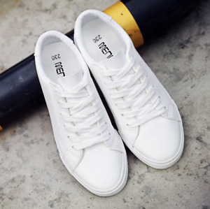 White Black leather women's Sneakers Shoes New Summer Tennis Jogging Fashion