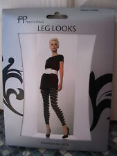 PRETTY POLLY STRIPED OPTICAL FOOTLESS MONOCHROME TIGHTS ONE SIZE BRAND NEW