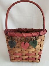 "Vintage Natural Woven Wall Basket With 3 Wooden Hearts Trim  1/"" x 8"" x 3"""