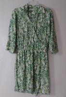 Cabi 280 Dress Size XS Green White Leaf Printed Faux Wrap Tropical Palm
