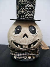 """NWT 10"""" Black & White GHOST HEAD in Undertakers Top Hat Halloween Decoration"""
