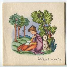 VINTAGE VICTORIAN GIRL READING TOPIARY DOG 1 CHRISTMAS MORNING TREE DOLL CARD