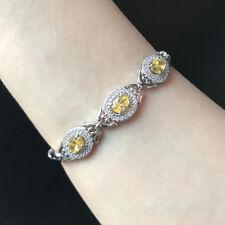 "Oval Yellow Citrine Cubic Zirconia Three Stone CZ Bracelet Anniversary Gift 7"""