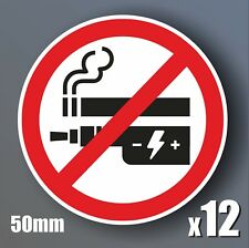 12 No Smoking or Vaping Stickers 50mm waterproof vinyl signs window car taxi
