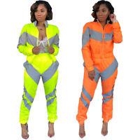 Women Color Block Patchwork Long Sleeve Zipper Cool Reflect Light Jumpsuit 2pc