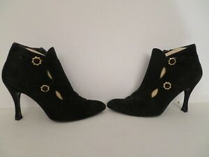 Charles Jourdan Size 8.5M High Heel Ankle Boots Booties Black Suede Leather Mint