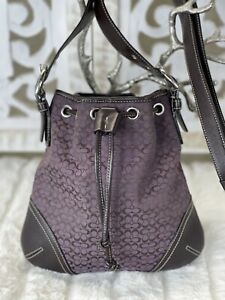 COACH 6387 Small Signature Purple Chocolate Crossbody Drawstring Shoulder Bag