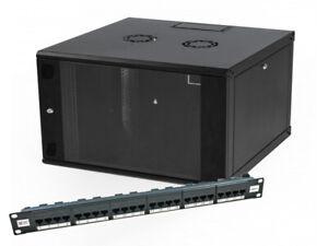"""6u 600mm 19"""" Black Wall Mounted Data Cabinet & 24 way 19"""" 1U Cat6 Data Panel"""