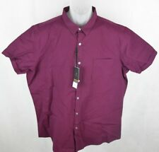 Marc Anthony Plum  Stretch Button Front Short Sleeve Shirt Men's Size XXL New