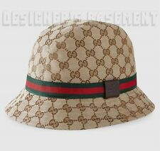 GUCCI beige Original GG canvas XL FEDORA trademark Logo WEB ribbon hat NWT Auth