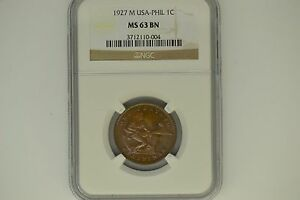 Phillipines- USA: 1927-M One Centavo- NGC MS-63.  Very attractive.