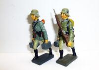 2 Lineol Duscha ? Wehrmacht MG Schützenvorgehend Deutschland Masse 7,5cm