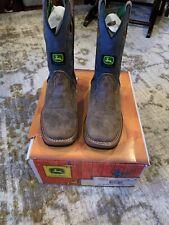 New Dealers John Deere Children'S Size 13 M Tan/W Sanded Blue Top Boot