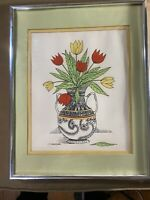 "Vintage M Baldasaro ""Vase Of Flowers Scene"" Pen And Ink Drawing - Signed/Framed"