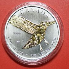 "Canada 5 Dollars 2015 1 Oz/Unze Silber F#3380 24k Gold gildet ""Falke-Falcon"""