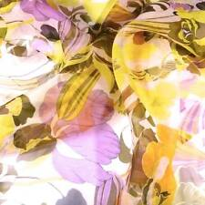 Sheer Voile, Purple, Gold, Yellow, Brown and White, Reversible, BTHY