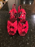 Jeffrey Campbell For Anthropologie Red Suede Snakeskin Sandals, Size 7, New!