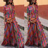 Womens Casual Long Shirt Dress Multicolor Loose Button Bohe Beach Robe Dresses