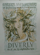 AFFICHE ORIGINALE ANCIENNE EXPOSITION DIVERLY GALERIE YVES JAUBERT PARIS 1973