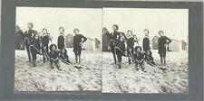 Jeux de sable Enfants Snapshot Photo Stereo Vintage Argentique c1900