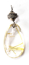 Silver Plated Rutilated Quartz Oval Pendant Dot Ball 57mm x 22mm