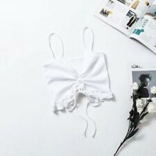 Euro Ruffles Puling Ropes Fitted Camisoles - White