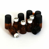 IG_ 10Pcs Mini Empty Brown Glass Bottle Roller Ball Essential Oil Liquid Contain